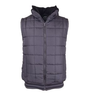 Box quilted varsity puffer vest with fleece hood
